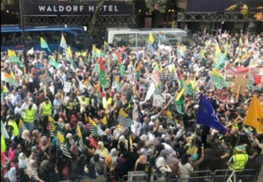 লন্ডনে ভারতীয় হাইকমিশনের সামনে 'কাশ্মীর ফ্রিডম মার্চ' বিক্ষোভ