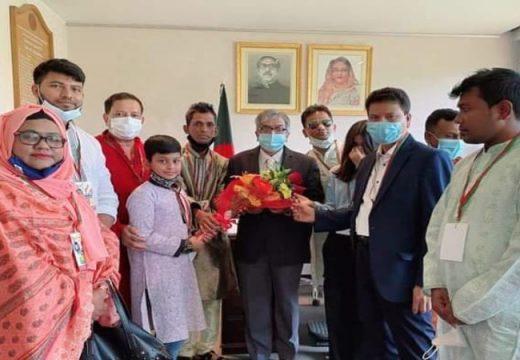 রাষ্ট্রদূত শামীম আহসানের সাথে 'শেখ রাসেল জাতীয় শিশু কিশোর পরিষদ ইতালী'র সৌজন্য সাক্ষাত